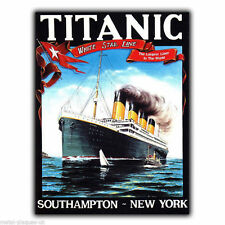 PLACCA di Metallo Segno Muro Titanic White Star Line Travel Poster Art Print PICTURE