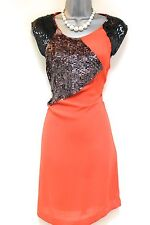 French Connection Orange Sequin Embellished Shift Evening Occasion Dress 12/14