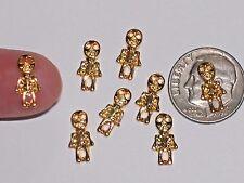 2Pc Miniature dollhouse tiny Flatback Halloween nail bone Skeleton man 7mm Gold
