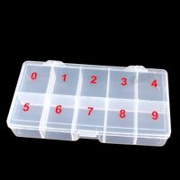 Plastic Storage Box Case Nail Art False Tips Gems 10cells Makeup Empty Container