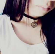 Black Choker & Bronze Star Pentagram Necklace Halloween Costume Gothic
