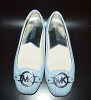 Michael Kors DRIVING MOCCASINS SHOES BLUE SILVER LOGO SZ-5