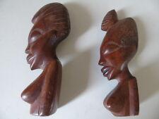 Buste de femmes, statuettes africaines en bois 19 cm