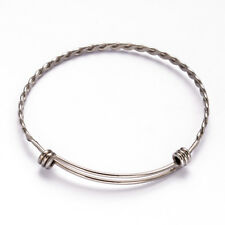 20pcs 304 Stainless Steel Adjustable Bangle Blanks Bases Decorative Jewelry 63mm