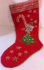 Vntg Merry Christmas Red Christmas Stocking Angel Graphic candy cane tree star