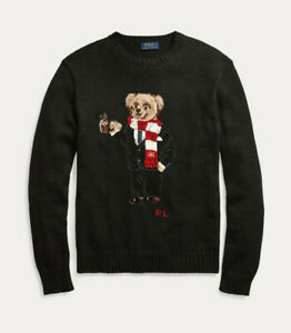 Polo Ralph Lauren Black Cotton Hot Cocoa Holiday Scarf Bear Sweater New $398