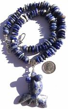 """STYLISH SODALITE HEISHI 19.5"""" NECKLACE WITH CURVED FISH 2.5"""" LONG PENDANT"""