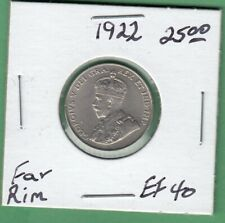 1922 Canadian 5 Cents Coin - Far Rim - EF-40