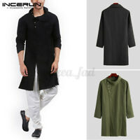 Men's Kurta Shirts Long Sleeved Shirt Button Ethnic Robe Loose Fit Tops Blouses