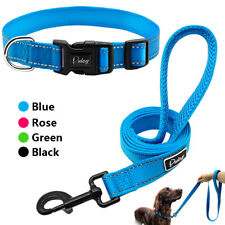 Reflective Nylon Dog Collar & Leash Set Small Medium Large Dog Walking Rope S-L