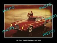 OLD LARGE HISTORIC PHOTO OF 1977 FORD THUNDERBIRD MODEL LAUNCH PRESS PHOTO
