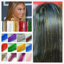 "28"" Silk Hair Tinsel 1 Pack flare strand hair bling salon extensions Holographic"