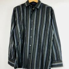 Gap Mens Shirt Size 15-15 1/2 Fitted Black Gray Blue Stripe Button Front L/S