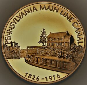 Pennsylvania Main Line Canal 150th Anniversary Solid Bronze Proof Franklin Mint