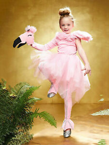 Fancy Flamingo Costume Kids Girls Halloween Fancy Dress Faux Fur Pink SIZE 6 (S)
