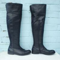 Aldo Leather Boots Size Uk 6 Eur 39 Womens Ladies Shoes Pull on OTK Black Boots