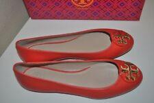 NIB Tory Burch CLAIRE Ballerina Ballet Flat Shoe Samba Leather Logo 9.5 M Orange