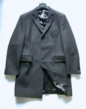 John Varvatos Wool&Cashmere Mens Black Peak Lapel 3-Button Long Overcoat/Jacket