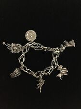 Women's Sterling Silver 925 Charm Chain Bracelet Poodle Matador Cukoo Clock