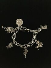 Women's Sterling Silver 925 Charm Chain Bracelet Poodle Matador Cukoo Clock