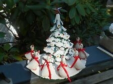 Vintage Ceramic Mold Frosted Christmas Tree w/ Snow Base and 7 Geese
