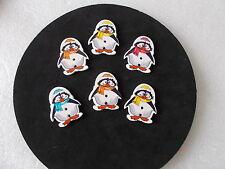 10 x Pinguino Carino a forma di cappello e sciarpa BOTTONI IN LEGNO COLORI Casuale mista