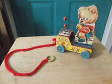 Vintage Fisher-Price Wooden Toy #634 Tiny Teddy - Works
