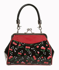 Banned CHERRY 50s Rockabilly LUCIDO FRIZIONE Shoulder Bag Handbag Purse Nero Rosso