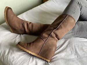 Liebeskind Berlin Brown Suede Wedge Knee High Boots Size 7 EUR 40 US 9