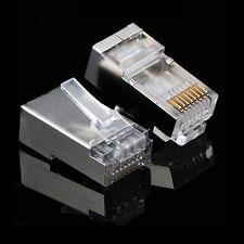 100 Pcs LOT Rj45 8p8c Network Cable Shielded Modular Cat6 Connector Plug End