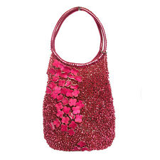 ANTEPRIMA RED FLORAL APPLIQUE WIRE TOTE BAG