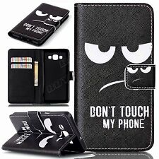 PU leather Cell phone case stand cover hot cartoon don't touch my phone pattern