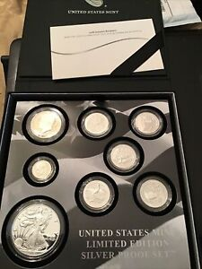 2018 S US MINT LIMITED EDITION 99.9% SILVER PROOF SET 8 Coins with Silver Eagle