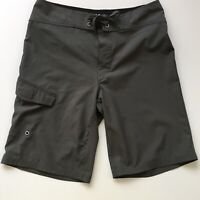 Mossimo Supply Co Men's Gray Cargo Shorts Size 32 Board Swim Surf  Tie Waist