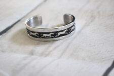 Western Silver Running Horses Bracelet Cuff Rodeo Fashion Casual Dressy Adjust