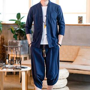 Men Shirt and Pants Set Outfit Frog Button Tops Capri Trousers Tang Suit Retro