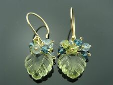 Lemon Quartz Carved Leaf Peridot and Aquamarine 14K Gold Filled Earrings