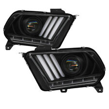 10-12 Mustang Black LED Sequential Turn Signal Projector Headlights Factory HID