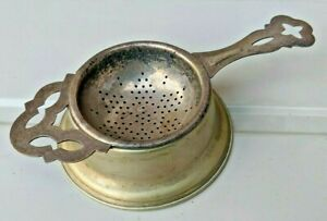 Silver plate LEWBURY EPNS tea strainer and base, with lots of patina