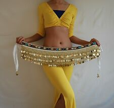 Belly Dance Costume Set Top - Coins Hip Scarf Wrap Waist Chains