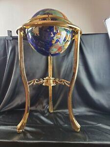 "Vintage Globe of Semi-Precious Stones. HEAVY w/ Brass Floor Stand 35"" Tall"