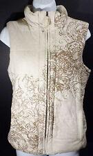 XS Coldwater Creek Tan Cotton/Spandex Puffer Vest Full Zip Front