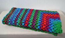 Hand Crochet, Knitted Granny Square Rainbow blanket