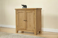 Solid Rustic Oak Large Two Door Storage Cupboard Cabinet | Burnham Range