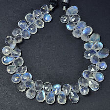 Rainbow Moonstone Faceted Pear Briolette Bead 7.8 inch strand