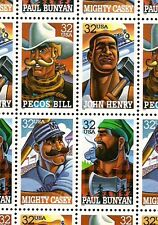1996 - Folk Heroes - #3083-6 Full Mint -Mnh- Sheet of 20 Postage Stamps