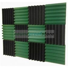2x12x12 (12 Pk) DARK GREEN/CHARCOAL Acoustic Wedge Soundproof Studio Foam Tiles