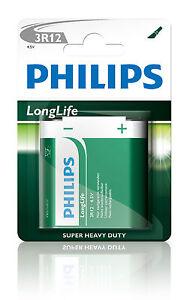 PHILIPS Longlife Batterien Flachbatterie 3R12 4,5 Volt 1er Blister 4,5V