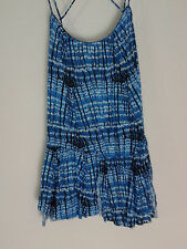 Free People NEW blue blouse M blue black white abstract print PEPLUM summery $78