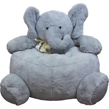 ELEPHANT CRITTER CHAIR GREY COLOR PLUSH MATERIAL SOFT FURRY FITS ANYWHERE
